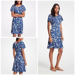 Ann Taylor Floral Iris Short Sleeve Flare Dress 0